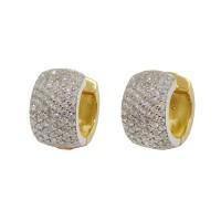 Brinco Em Ouro 18k Amarelo e Branco Argola Com Diamantes