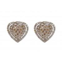 Brinco Em Ouro Branco 18k Coração Com Diamantes Brown