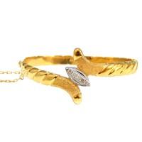 Pulseira Bracelete Algema de Diamantes Em Ouro 18k