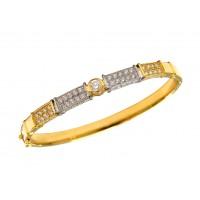 Pulseira Bracelete Algema Com Zircônias Em Ouro 18k