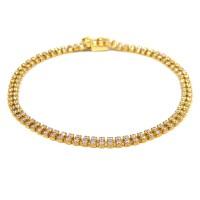 Pulseira Bracelete De Zircônias Em Ouro 18k