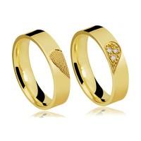 Par de Alianças de Ouro 18k Amor Perfeito