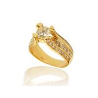 Anel em Ouro 18k Solitário Com Diamante 95 Pontos