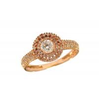 Anel em Ouro Rose 18k Solitário Com Diamante 30 Pontos