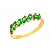Anel Meia Aliança Em Ouro 18k Esmeraldas Sintéticas Navete