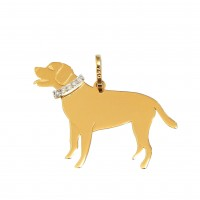 Pingente Em Ouro 18k Cachorro Labrador Com Brilhantes