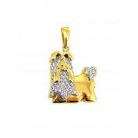 Pingente Em Ouro 18k Cachorro Maltês Com Zircônias