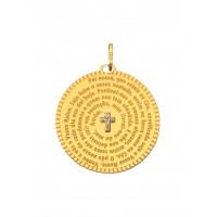 Pingente Em Ouro 18k Mandala Oração Pai Nosso Com Brilhantes