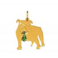 Pingente Em Ouro 18k Cachorro Bulldog Inglês Com Esmeraldas