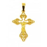 Pingente Em Ouro 18k Cruz Com Cristo Crucifixo Trabalhado