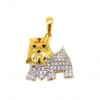Pingente Em Ouro 18k Cachorro Yorkshire Com Zircônias