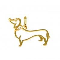 Pingente Em Ouro 18k Cachorro Salsicha Dachshund Zircônias